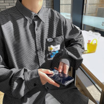 shirt Youth fashion Zijun M,L,XL Blue, gray, black, > Click to view size < (select color in front) routine Pointed collar (regular) Long sleeves easy Other leisure spring teenagers tide 2021 lattice Color woven fabric No iron treatment cotton Button decoration Easy to wear