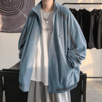 Jacket Zijun Youth fashion Blue, black, > Click to view size < (select color in front) M,L,XL routine easy Other leisure spring Long sleeves Wear out Hood tide teenagers routine zipper 2021 Cloth hem routine Splicing