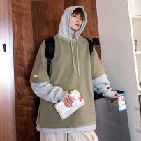 Sweater Youth fashion Zijun Black, apricot, Matcha green, > Click to view the size < (select the color in front) S,M,L,XL Solid color Socket routine Hood autumn easy leisure time teenagers tide routine cotton Color matching No iron treatment Kangaroo pocket Japanese and Korean style