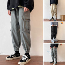 Casual pants Zijun Youth fashion Black, khaki, green, > Click to view size < (select color before) M,L,XL,2XL routine Ninth pants Other leisure easy Micro bomb spring teenagers tide 2020 Medium low back Little feet Overalls other Solid color