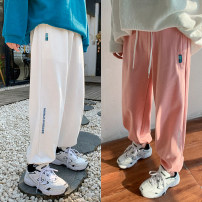 Casual pants Zijun Youth fashion White, pink, black, gray, > Click to view size < (select color in front) M,L,XL,2XL routine trousers Other leisure easy Micro bomb summer teenagers tide 2020 middle-waisted Little feet Haren pants pocket No iron treatment Solid color cotton
