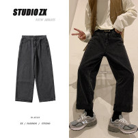 Jeans Youth fashion Zijun M,L,XL,2XL Black, blue, > Click to view size < (select color in front) routine Micro bomb Ninth pants Other leisure autumn teenagers Medium low back Loose straight tube tide 2020 Straight foot zipper