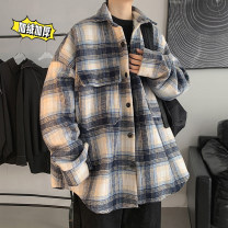 shirt Youth fashion Zijun M,L,XL Black, gray, orange, coffee, > Click to view size < (select color in front) routine square neck Long sleeves easy Other leisure autumn teenagers tide 2020 lattice No iron treatment cotton