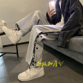 Casual pants Others Youth fashion Black plush, gray plush, black conventional, gray conventional S,M,L,XL,2XL Plush and thicken trousers Other leisure easy Micro bomb winter tide middle-waisted Straight cylinder Sports pants No iron treatment cotton