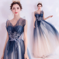 Dress / evening wear Wedding adult party company annual meeting performance XS S M L XL XXL XXXL Gradient blue fashion longuette Summer 2020 Self cultivation Chest type Bandage 18-25 years old Sleeveless Diamond ornament Bridal Beauty Polyethylene terephthalate (polyester) 100% 96% and above Acrylic