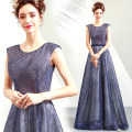 Dress / evening wear Wedding adult party company annual meeting performance XS S M L XL XXL XXXL Purple blue grace longuette middle-waisted Winter of 2018 Fluffy skirt U-neck Bandage 18-25 years old Sleeveless Nail bead Bridal Beauty Polyester 100% Sequins