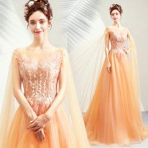 Dress / evening wear Wedding adult party company annual meeting performance XS S M L XL XXL XXXL golden fashion longuette middle-waisted Winter of 2018 Fall to the ground U-neck Bandage 18-25 years old Long sleeves Embroidery Bridal Beauty Polyester 100% Hand embroidery
