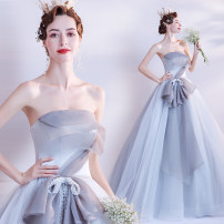 Dress / evening wear Wedding adult party company annual meeting performance XS S M L XL XXL XXXL Gray blue princess longuette middle-waisted Autumn 2020 Fluffy skirt Chest type Bandage 18-25 years old Sleeveless Nail bead Bridal Beauty Polyethylene terephthalate (polyester) 100% 96% and above Pearl