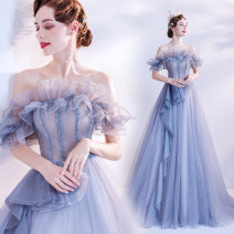Dress / evening wear Wedding adult party company annual meeting performance XS S M L XL XXL XXXL blue Korean version longuette middle-waisted Winter 2020 Fall to the ground One shoulder Bandage 18-25 years old Short sleeve flower Solid color Bridal Beauty routine Pure e-commerce (online only)