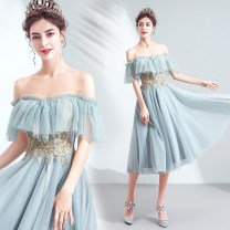 Dress / evening wear Wedding adult party company annual meeting performance XS S M L XL XXL XXXL Smoke cyan Sweet Short skirt middle-waisted Winter of 2019 Skirt hem One shoulder Bandage 18-25 years old Short sleeve Embroidery Bridal Beauty Polyethylene terephthalate (polyester) 100% 96% and above