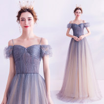 Dress / evening wear Wedding adult party company annual meeting performance XS S M L XL XXL XXXL Gradient blue fashion longuette middle-waisted Winter of 2019 Fall to the ground Sling type Bandage 18-25 years old Short sleeve Diamond ornament Bridal Beauty Polyethylene terephthalate (polyester) 100%