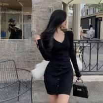 Dress Winter 2020 White, black Average size Short skirt singleton  Long sleeves V-neck Single breasted