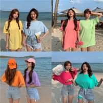 T-shirt Lake blue, white, purple, blue, yellow, black, orange, rose red, pink, light green Average size Spring 2021 Short sleeve Crew neck easy Regular routine commute other 51% (inclusive) - 70% (inclusive) 18-24 years old Korean version 98044#