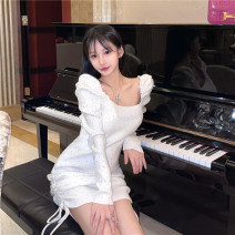 Dress Winter 2020 White, black Average size Short skirt singleton  Long sleeves commute High waist 18-24 years old Korean version 527#