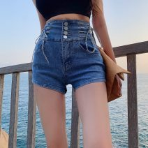 Jeans Summer 2021 blue S,M,L,XL shorts High waist routine 18-24 years old Cotton denim 0083#