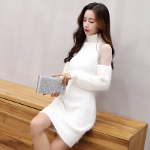 sweater Winter of 2019 Average size White, black Long sleeves Socket singleton  Medium length other 71% (inclusive) - 80% (inclusive) High collar thickening commute routine Solid color Self cultivation Keep warm and warm Olenkady MDH148 Splicing