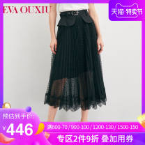 skirt Summer 2021 155/64A/S 160/68A/M 165/72A/L 170/76A/XL black Mid length dress Natural waist A-line skirt Type H 30-34 years old 12KAQ7278 More than 95% EVA ouxii polyester fiber Pleated lace Polyester 100%