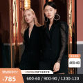 Dress Spring 2020 black 155/80A/S 160/84A/M 165/88A/L 170/92A/XL Middle-skirt singleton  Long sleeves commute tailored collar High waist Solid color double-breasted routine 30-34 years old EVA ouxii Korean version Button lace More than 95% polyester fiber Polyester 100%