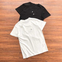 T-shirt Youth fashion White, black routine S,M,L,XL,2XL Others Short sleeve Crew neck standard Other leisure Four seasons routine tide Cotton wool 2021 Solid color Cotton polyester