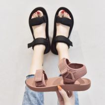 Sandals Black, pink EVA Other / other Barefoot Muffin bottom Flat heel (1cm or less) Spring 2021 Velcro Korean version rubber Hollowing out Cool boots