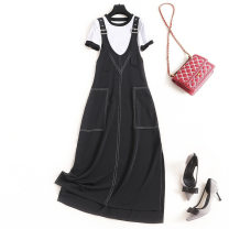 Dress Summer 2020 Black + white S,XL,L,M Mid length dress Two piece set Short sleeve commute Crew neck High waist Solid color Socket A-line skirt routine Others 25-29 years old Splicing Chiffon polyester fiber