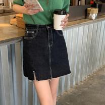 skirt Summer 2021 S,M,L,XL navy blue Short skirt commute High waist A-line skirt Solid color Type A Denim Cornelia cotton Korean version