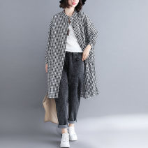 Women's large Spring 2021 lattice L [recommended 110-170 kg], XL [recommended 170-240 kg] shirt singleton  commute easy moderate Cardigan Long sleeves lattice literature stand collar Medium length polyester Three dimensional cutting shirt sleeve Y905 pocket 51% (inclusive) - 70% (inclusive)