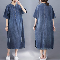 Dress Summer 2021 blue M [recommended 100-130 kg], l [recommended 120-150 kg], XL [recommended 140-170 kg], 2XL [recommended 160-200 kg] Mid length dress singleton  elbow sleeve commute stand collar Loose waist Solid color Socket other routine Others Type H literature Pockets, rags, buttons H129