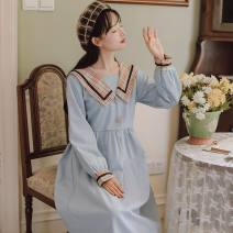 Dress Spring 2021 Blue, red S,L,M Mid length dress singleton  Long sleeves Sweet Admiral High waist lattice Socket other Others 18-24 years old Type A nutlet Splicing ME6040 # 71% (inclusive) - 80% (inclusive) other polyester fiber college