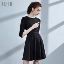 Dress Autumn of 2018 black XS S M L XL Short skirt singleton  three quarter sleeve commute Crew neck High waist Solid color Socket A-line skirt routine 25-29 years old U-ZHI lady IUSLC4987 More than 95% polyester fiber Polyester 100% Pure e-commerce (online only)