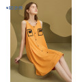 Nightdress A good companion Dark apricot yellow thick grass green black blue oxygen purple S M L XL Simplicity Sleeveless Leisure home Middle-skirt summer Solid color youth Crew neck cotton bow More than 95% pure cotton 200g and below Spring 2021 Cotton 100%