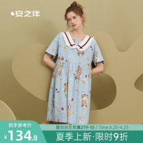 Nightdress A good companion Denim blue S M L XL Sweet Short sleeve Leisure home Middle-skirt summer Cartoon animation youth Crew neck cotton printing 81% (inclusive) - 95% (inclusive) pure cotton 200g and below Summer 2021 Cotton 95% polyurethane elastic fiber (spandex) 5%