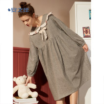 Nightdress A good companion Elegant cyan 155(S) 160(M) 165(L) 170(XL) Sweet Long sleeves Leisure home longuette autumn other youth Crew neck cotton lace More than 95% Han ermian 220g Autumn 2020 Cotton 95% polyurethane elastic fiber (spandex) 5% Same model in shopping mall (sold online and offline)