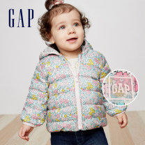 Down Jackets polyester fiber Grey duck down 50% Gap 12 months, 18 months female 348790 Zipper shirt Polyester 100% Class A Winter 2018 Navy blue white print 73cm (June to December) 80cm (December to 18) size is too small, it is recommended to choose a size larger than 90cm (December to 24)
