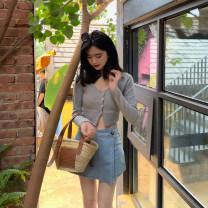 skirt Spring 2021 S,M,L Light blue, light blue for 7 days K210310a jeans skirt