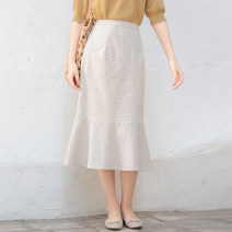 skirt Spring 2020 S,M,L,XL Beige lattice Mid length dress lattice 25-29 years old More than 95% brocade What you look like in the past and this life cotton
