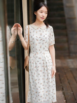 Dress Summer 2020 Rice design S,M,L,XL Mid length dress Short sleeve commute other middle-waisted Decor Socket Big swing routine 25-29 years old Type X What you look like in the past and this life literature More than 95% Chiffon polyester fiber