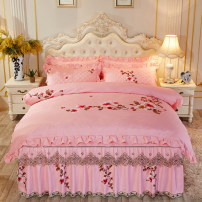 Bedding Set / four piece set / multi piece set Polyester (polyester fiber) Quilting Plants and flowers 133X76 Gao Wang Polyester (polyester fiber) 4 pieces 40 Bed skirt Qualified products European style Sanding Reactive Print  Mei Xin Thermal storage other