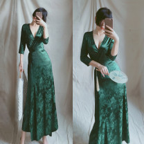 Women's large Summer 2020, spring 2020, autumn 2020, spring 2021, summer 2021, autumn 2021 Picture color Dress singleton  commute easy moderate Cardigan three quarter sleeve Korean version V-neck Medium length other Three dimensional cutting routine belt longuette other