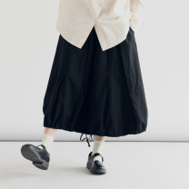 skirt Spring 2021 S,M,L Black, cream apricot, tan Mid length dress Versatile Natural waist other Solid color Type H F013 81% (inclusive) - 90% (inclusive) other cotton
