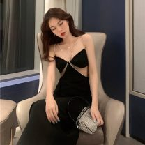 Dress Autumn 2020 black S,M,L longuette singleton  Sleeveless street One word collar High waist A-line skirt camisole 18-24 years old Eight point five Europe and America