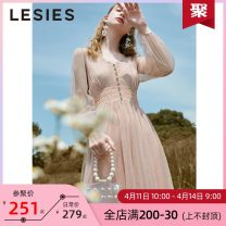 Dress Autumn of 2019 10 light pink 155/80A 160/84A 165/88A 170/92A Mid length dress Two piece set Long sleeves commute V-neck High waist other Socket other other Others 25-29 years old Type X Lesies / blue lady Button lace LS597103 More than 95% other polyester fiber Polyester 100%
