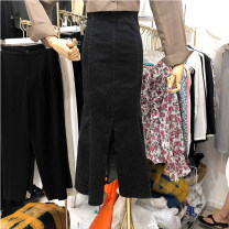 skirt Spring 2021 S,M,L black Mid length dress Versatile High waist Denim skirt Solid color Denim