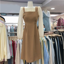 Dress Spring 2021 Black, brown M, L Two piece set Long sleeves High waist Solid color 31% (inclusive) - 50% (inclusive)