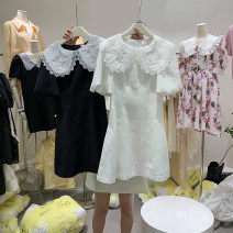 Dress Summer 2021 White, black S,M,L Mid length dress singleton  Short sleeve Doll Collar Solid color Socket A-line skirt puff sleeve 31% (inclusive) - 50% (inclusive)