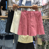 skirt Summer 2021 S,M,L,XL White, black, pink Short skirt High waist Solid color 31% (inclusive) - 50% (inclusive) Denim