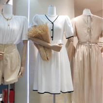 Dress Summer 2020 White, black S, M Mid length dress singleton  Short sleeve Sweet V-neck High waist Solid color Single breasted A-line skirt puff sleeve Type A 31% (inclusive) - 50% (inclusive)