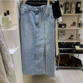 skirt Summer 2021 S,M,L wathet Mid length dress High waist skirt Solid color 31% (inclusive) - 50% (inclusive) Denim