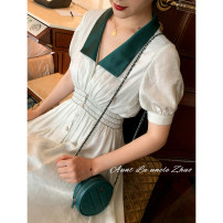 Dress Summer 2020 Baby green XS,S,M,L Mid length dress singleton  Short sleeve commute Doll Collar High waist other bishop sleeve Others 18-24 years old Type A Retro 51% (inclusive) - 70% (inclusive)