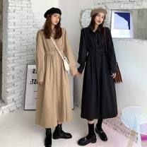Dress Autumn 2020 Black, camel Average size singleton  Long sleeves commute Polo collar High waist Solid color Single breasted A-line skirt shirt sleeve Others 18-24 years old Type A 71% (inclusive) - 80% (inclusive) other polyester fiber